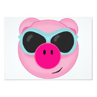Pink Pig in Sunglasses 13 Cm X 18 Cm Invitation Card