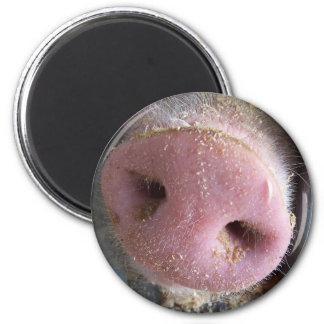 Pink Pig nose close up photograph 6 Cm Round Magnet