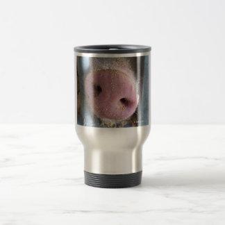 Pink Pig nose close up photograph Mugs