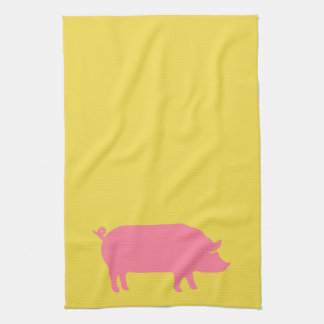 Pink Pig on Yellow Tea Towel