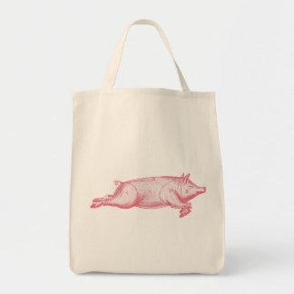 Pink Pig Organic Grocery Tote Tote Bags