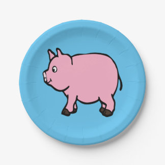 """Pink Pig  Paper Plates 7"""" 7 Inch Paper Plate"""