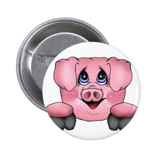 Pink Pig Pin Button