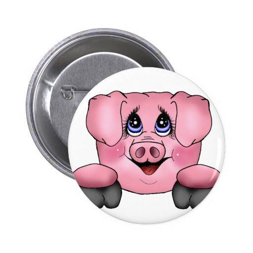 Pink Pig Pin Button