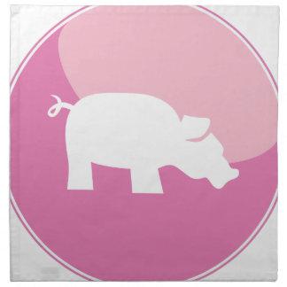 Pink Pig Round Icon Printed Napkins