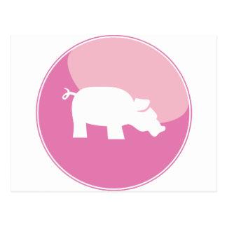 Pink Pig Round Icon Postcard