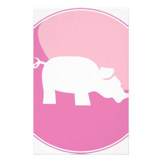 Pink Pig Round Icon Stationery