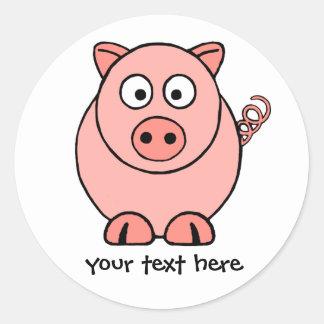 Pink Pig Round Sticker