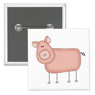 Pink Pig T-shirts and Gifts Button