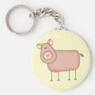 Pink Pig T-shirts and Gifts Basic Round Button Key Ring