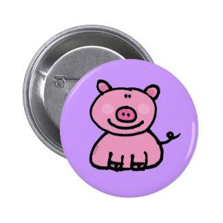 Pink piggy 6 cm round badge