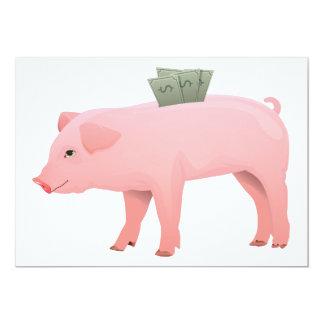 "Pink Piggy Bank Invitations 5"" X 7"" Invitation Card"