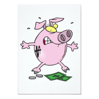 Pink Piggy Bank With Money Invitations