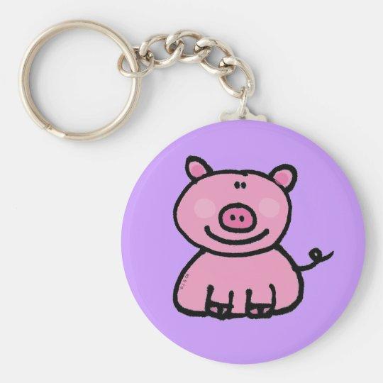 Pink piggy basic round button key ring