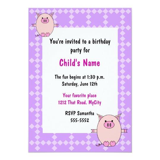 Pink Piggy Children's Birthday Invitation