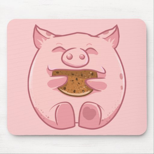 Pink Piggy Eating Cookie Mousepad Zazzle