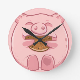 pink piggy eating cookie round clock