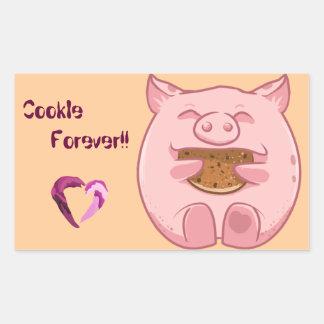 pink piggy eating cookie sticker