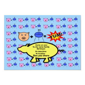 "Pink piggy face barbeque invitation 5"" x 7"" invitation card"