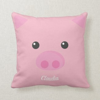 Pink Piggy Face Cushion