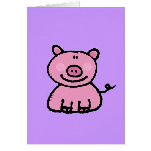 Pink piggy greeting card
