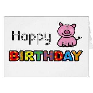 Pink piggy happy birthday greeting card