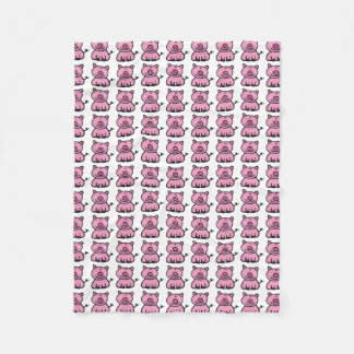 pink piggy pattern fleece blanket
