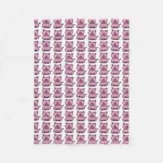 pink piggy pattern fleece blanket