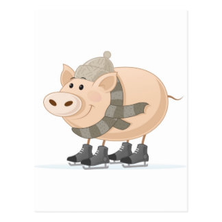 Pink Piggy Skating Postcard
