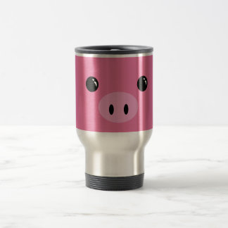 Pink Piglet Cute Animal Face Design Stainless Steel Travel Mug