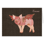 Pink Pigs Fly Polkadot Personalised Notecard Note Card
