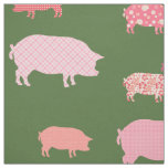 Pink Pigs On Green Background Pattern Fabric