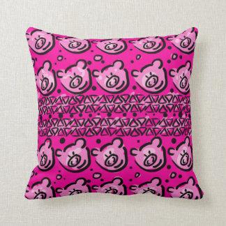 Pink pigs pattern cushion