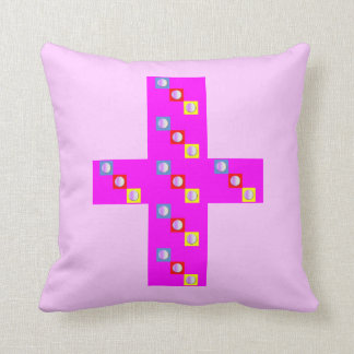 Pink Pillow (With Fuchsia Cross)