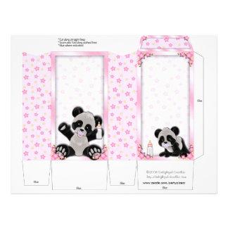 Pink Pinch Box Party Favours Panda bear Baby Showe 21.5 Cm X 28 Cm Flyer