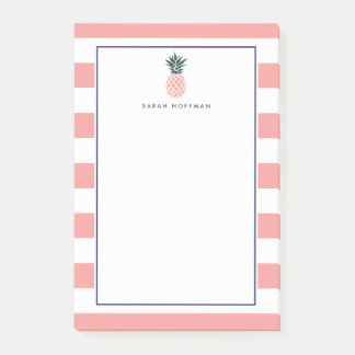 Pink Pineapple   Striped Personalized Post-it Notes