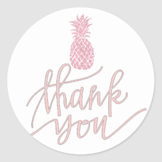 pink pineapple thank you round sticker