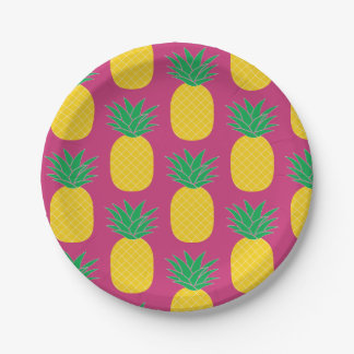 Pink Pineapple Tropical Paper Plate