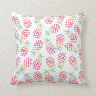 Pink Pineapple watercolor patterned pillow