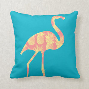 Pink Pineapples Flamingo Custom Throw Pillow