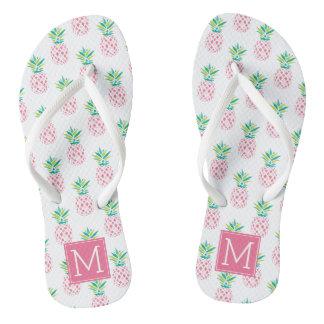 Pink Pineapples Monogrammed Flip Flops
