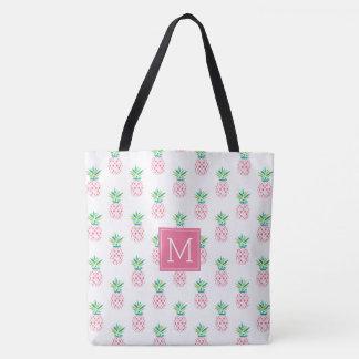 Pink Pineapples Monogrammed Tote Bag
