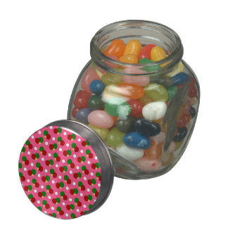 Pink ping pong pattern jelly belly candy jars