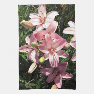 Pink, Pink White Asiatic Lilies Tea Towel