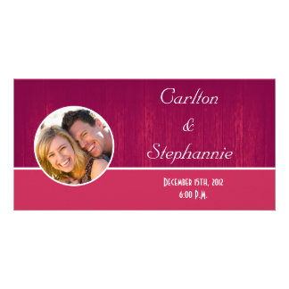 Pink Pink Wood Grain Photo Announcement Photo Card