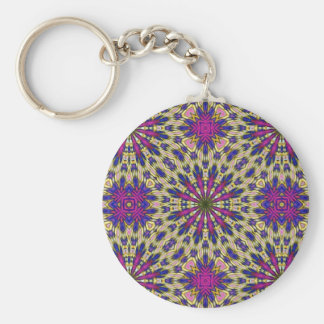 Pink Pinwheel Basic Round Button Key Ring