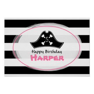 Pink Pirate Birthday Poster