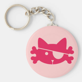 Pink Pirate Cat - Keychain