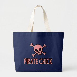 Pink Pirate Chick Large Tote Bag