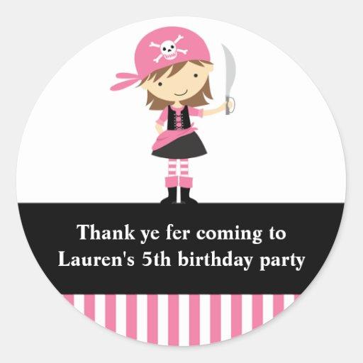 Pink Pirate Girl Birthday Stickers Round Stickers